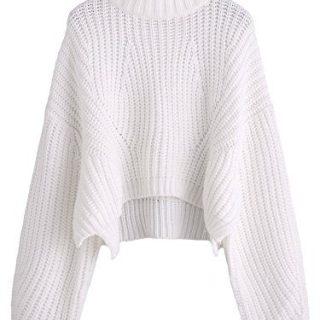 SheIn Women's Mock Neck Drop Shoulder Oversized Batwing Sleeve Crop Top