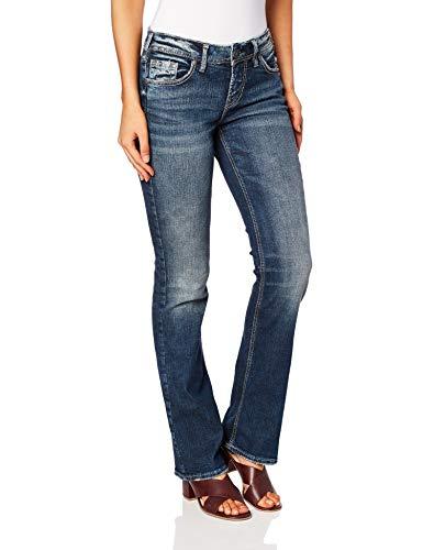 Silver Jeans Co. Women's Suki Curvy Fit Mid Rise Slim Bootcut, Medium Vintage
