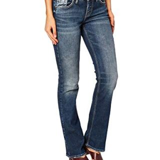 Silver Jeans Co. Women's Suki Curvy Fit Mid Rise Slim Bootcut, Medium Vintage