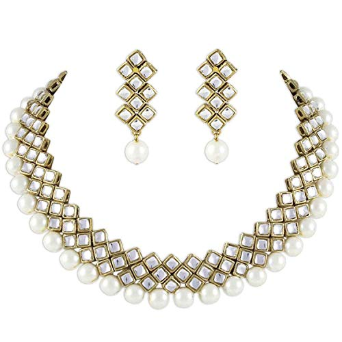 Aheli Kundan Pearl Necklace Earring Set Indian Ethnic Traditional Bollywood