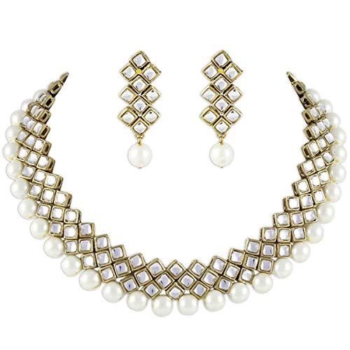 Aheli Kundan Pearl Necklace Earring Set Indian Ethnic Traditional Bollywood