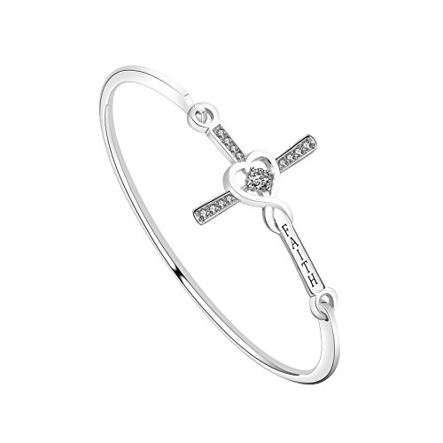WUSUANED Infinity Love Heart God Cross with Faith Inscription Christian Bracelet