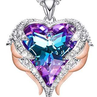 CDE 18K Rose Gold Women Necklace Heart Pendant Embellished