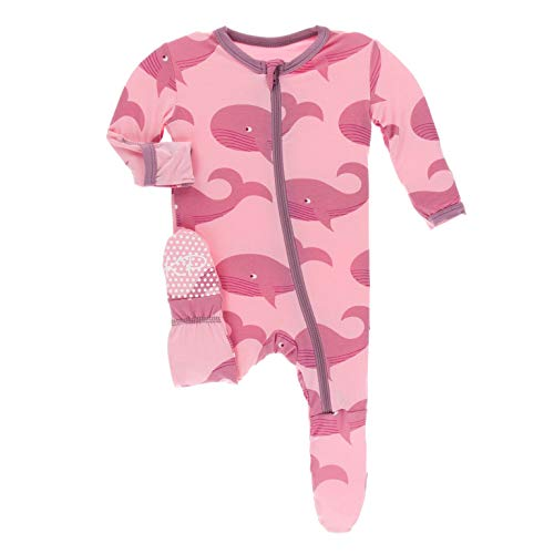 KicKee Pants Print Footie with Zipper (6-9 Months, Lotus Whales)