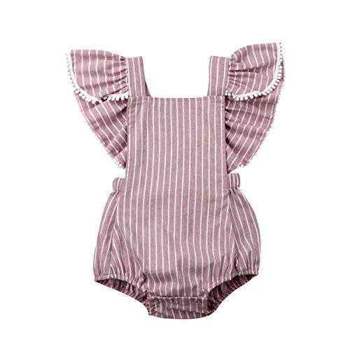 Listogether Summer Newborn Kids Baby Girls Cute Stripe Tassels Romper Bodysuit