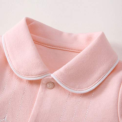 pureborn Baby Girls' Footed Cotton Little Star Sleep and Play Overalls Pink
