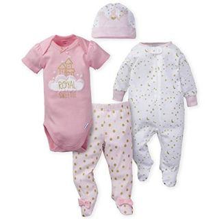 GERBER Baby Girls 4-Piece Sleep 'N Play, Onesies, Pant and Cap, Princess Arrival