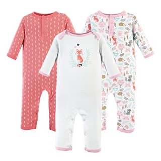 Hudson Baby Unisex Baby Cotton Coveralls, Woodland Fox