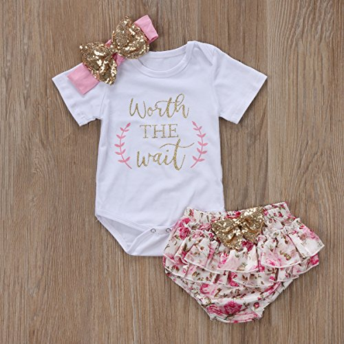 3PCS Baby Girls Worth The Wait/Daddy's Girl Print Outfit Clotmphes Roer