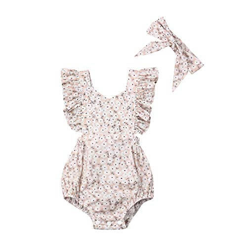 Newborn Baby Girl Romper Floral Print Vintage Jumpsuit Outfit Playsuit Clothes