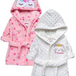 Duck Duck Goose Baby Boys' and Girls' Flannel Fleece Plush Bath Robe