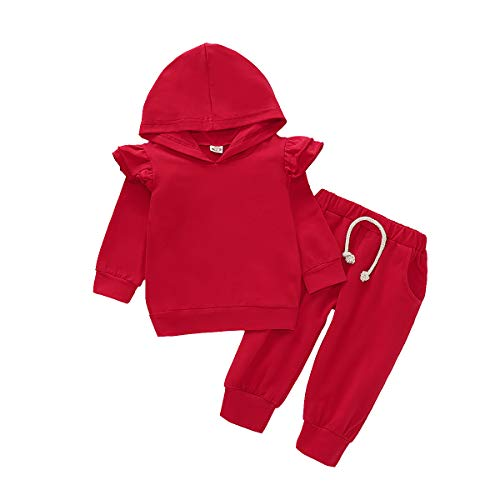 Baby Girls Ruffle Long Sleeve Hoodie Tops Sweatshirt and Elastic Waist Pants