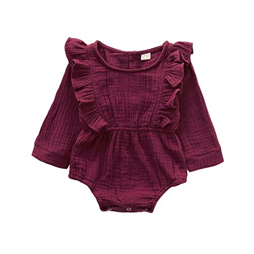 Infant Clothes for Girl Baby Girl Romper Cute Red Ruffle Long Sleeve Button