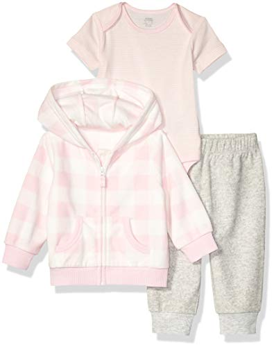 Amazon Essentials Baby Girls 3-Piece Microfleece Hoodie Set, Pink Buffalo Check