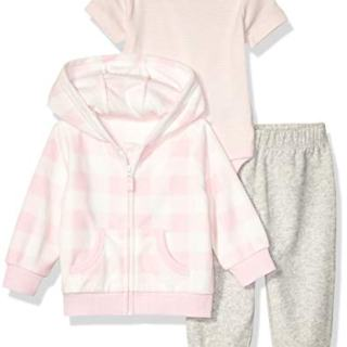 Amazon Essentials Baby Girls 3-Piece Microfleece Hoodie Set, Pink Buffalo Check