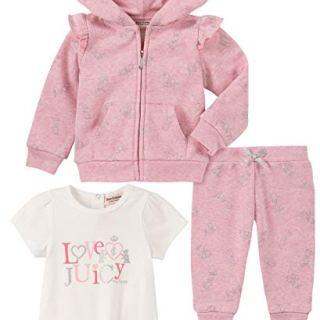 Juicy Couture Baby Girls 3 Pieces Jacket Pants Set, Peach Print/Vanilla