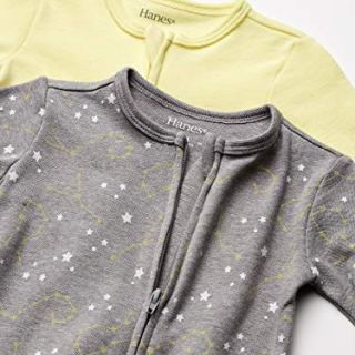 Hanes Ultimate Baby Zippin 2 Pack Sleep and Play Suits, Yellow/Grey