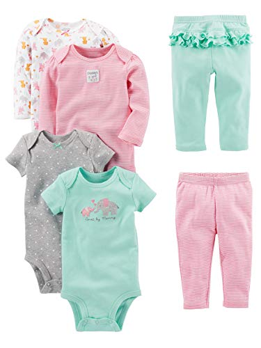 Simple Joys by Carter's Baby Girls' 6-Piece Little Character Set, Pink/Mint Ruffle