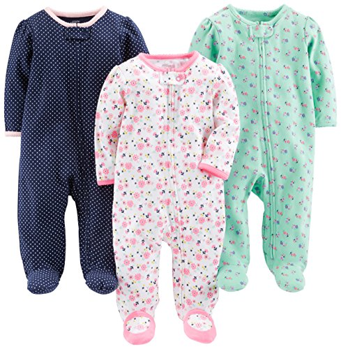 Simple Joys by Carter's Baby Girls' 3-Pack Sleep and Play, Pink Floral, Blue Floral
