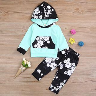 HappMA Infant Baby Girl Fall Outfits Long Sleeve Floral Hoodie Tops +Pants Clothes