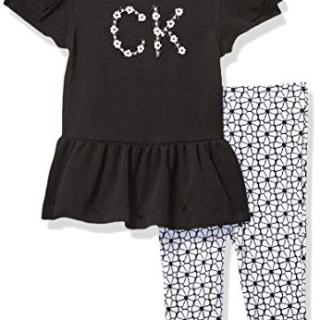 Calvin Klein Baby Girls 2 Pieces Legging Set, Black