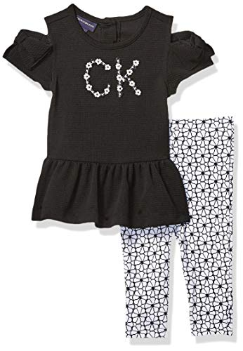 Calvin Klein Baby Girls 2 Pieces Legging Set, Black