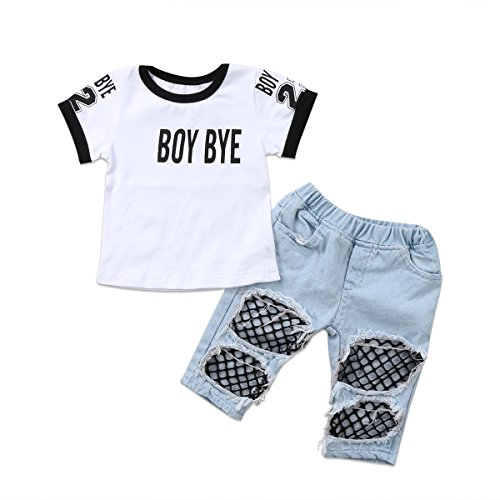 Kids Baby Girls T-Shirt Tops Summer Autumn Mesh Hole Denim Pants Jeans