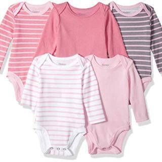 Hanes Ultimate Baby Flexy 5 Pack Long Sleeve Bodysuits, Pink Stripe