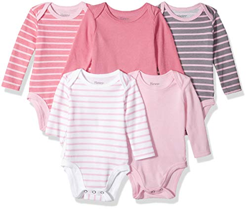 Hanes Ultimate Baby Flexy 5 Pack Long Sleeve Bodysuits, Pink Stripe