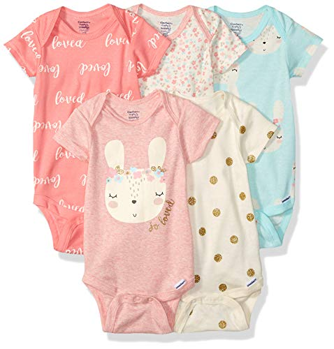 GERBER Baby Girls 5-Pack Organic Short-Sleeve Onesies Bodysuit, Bunny Love, 3-6 Months