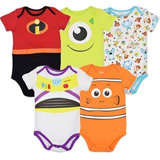 Disney Pixar Baby Boy Girl 5 Pack Bodysuits Nemo Buzz Incredibles Monsters Inc
