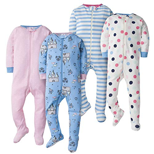 GERBER Baby Girls 4-Pack Footed Unionsuit, Happy Dots/fair Tale