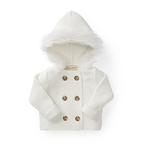 Hope & Henry Layette White Baby Sweater with Faux Fur Hood