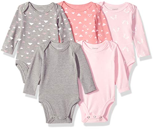 Hanes Ultimate Baby Flexy 5 Pack Long Sleeve Bodysuits, Pink/Grey Shades