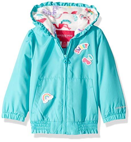 London Fog Baby Girls Floral Printed Fleece Lined Jacket, Aqua sea