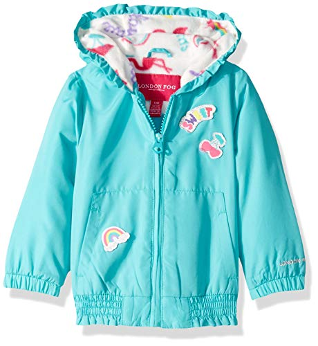 London Fog Baby Girls Floral Printed Fleece Lined Jacket, Aqua sea