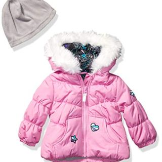 London Fog Baby Girls Puffer Jacket with Scarf & Hat, Pink Cyclamen