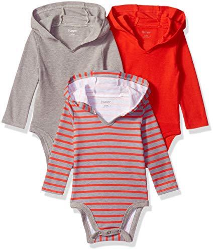 Hanes Ultimate Baby Flexy 3 Pack Hoodie Bodysuits, Red/Grey Stripe