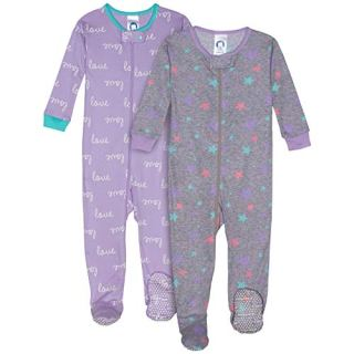 Gerber Baby Boys Organic 2 Pack Cotton Footed Unionsuit, 18 months