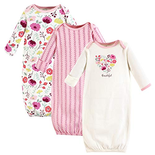 Touched by Nature Unisex Baby Organic Cotton Gowns, Botanical, 0-6 Months