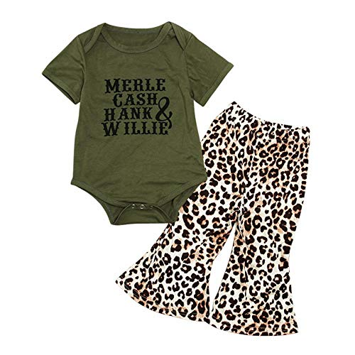Baby Girls Summer Clothes Letter Print Short Sleeves Romper Tops + Leopard Flare