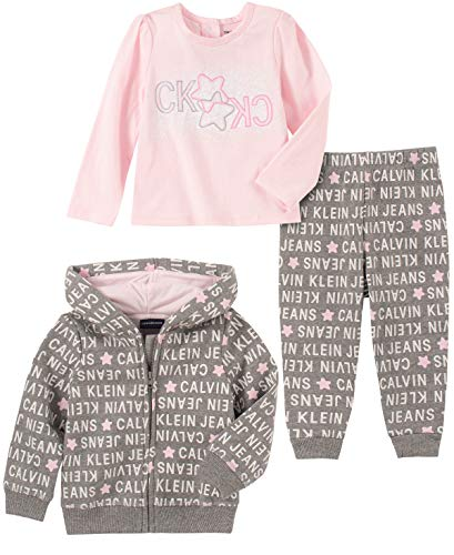 Calvin Klein Baby Girls 3 Pieces Jacket Pants Set, Gray/Pink
