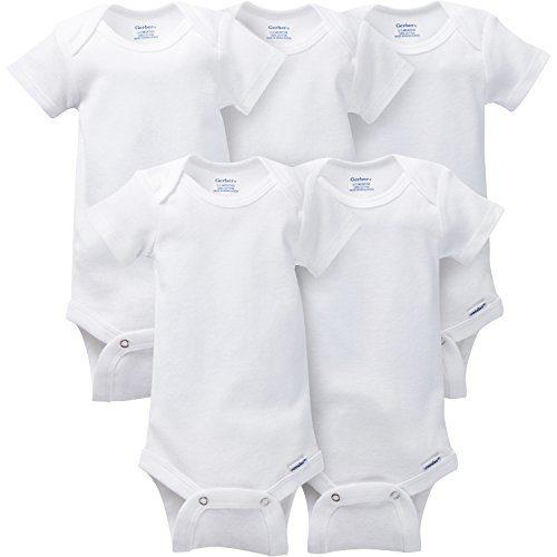 GERBER Baby 5-Pack Solid Onesies Bodysuits, White