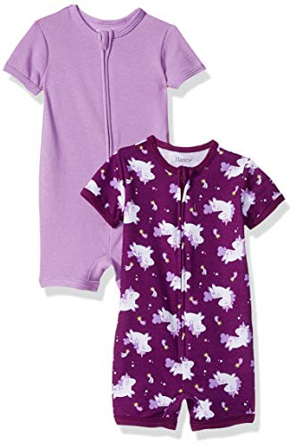 Hanes Ultimate Baby Zippin 2 Pack Rompers, Purple Unicorn