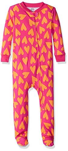 Amazon Essentials Baby Zip-Front Footed Sleeper, Big Hearts Pink