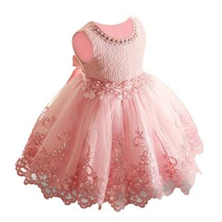 LZH Baby Girl Dress Formal Baptism Gowns Pageant Flower Dress for Toddler