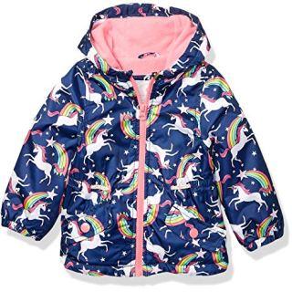 Carter's Baby Girls Midweight Fleece Lined Anorak Jacket, Unicorns On Navy