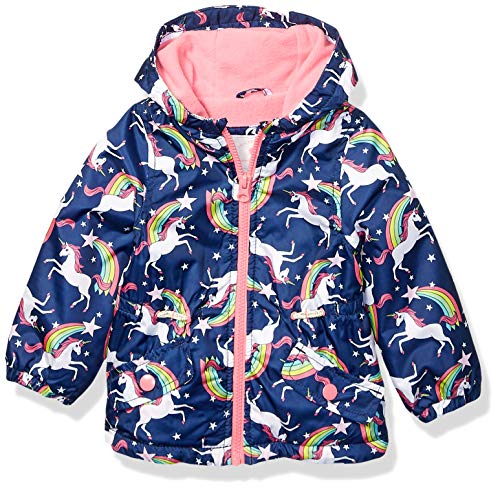 Carter's Baby Girls Midweight Fleece Lined Anorak Jacket, Unicorns On Navy