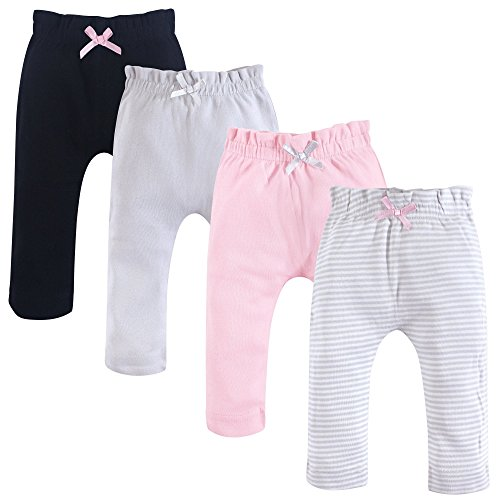 Touched by Nature Baby Organic Cotton Pants, Gray and Pink 4Pk