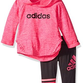 adidas Baby Girls' Long Sleeve Top and Pant Set, Shock Pink Heather